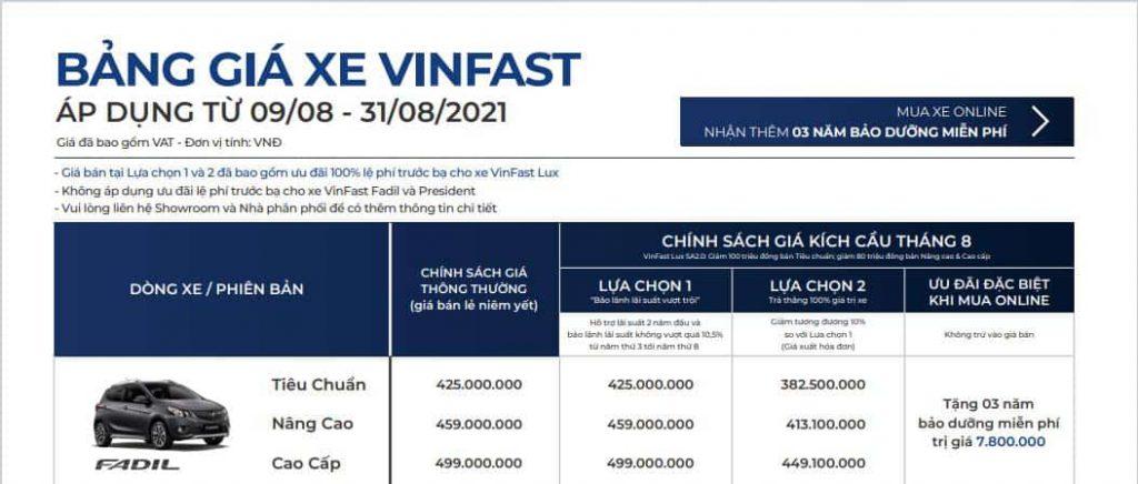 bảng giá xe vinfast fadil tháng 08/2021 và các chương trình khuyến mãi đi kèm