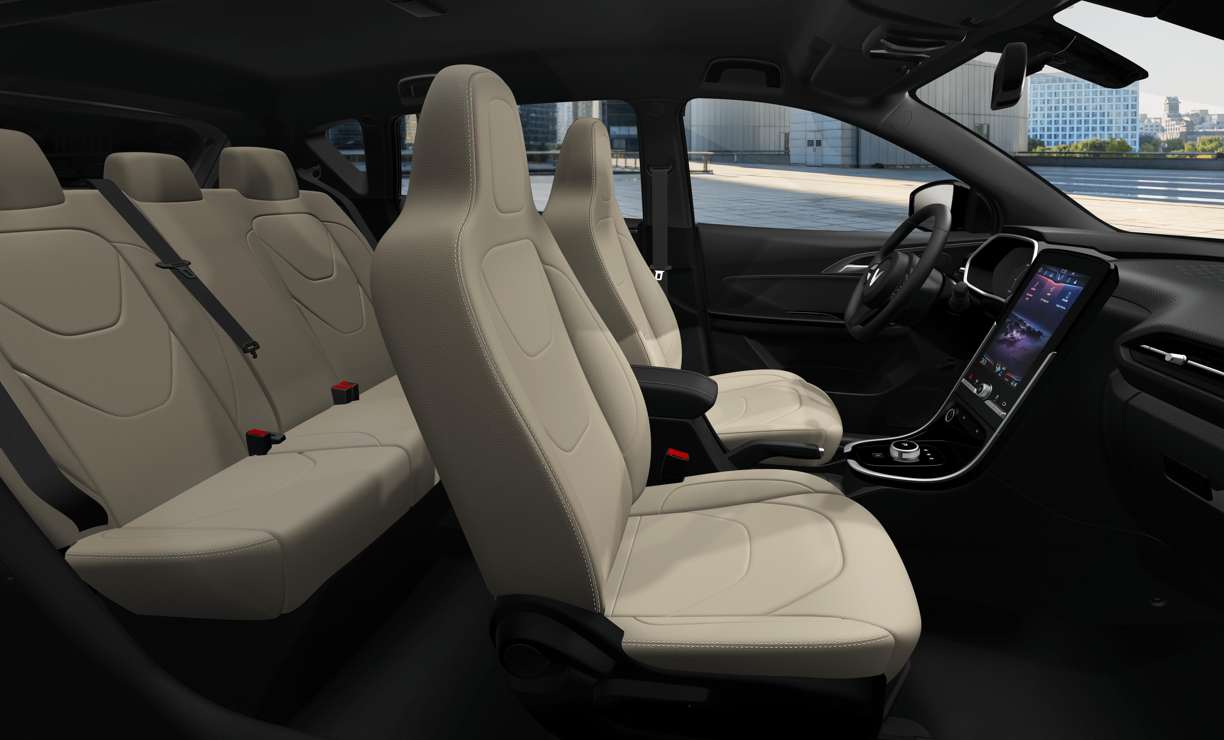 Hình ảnh mô phỏng nội thất màu trắng của xe điện vinfast vf e34
