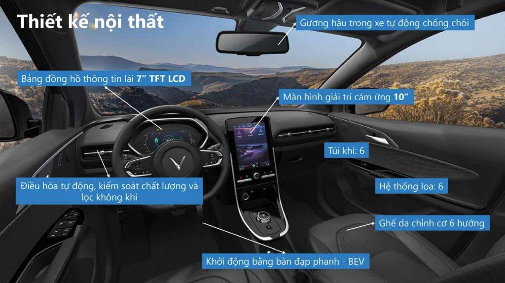 chi tiết thông số kĩ thuật nội thất xe điện vinfast vf e34