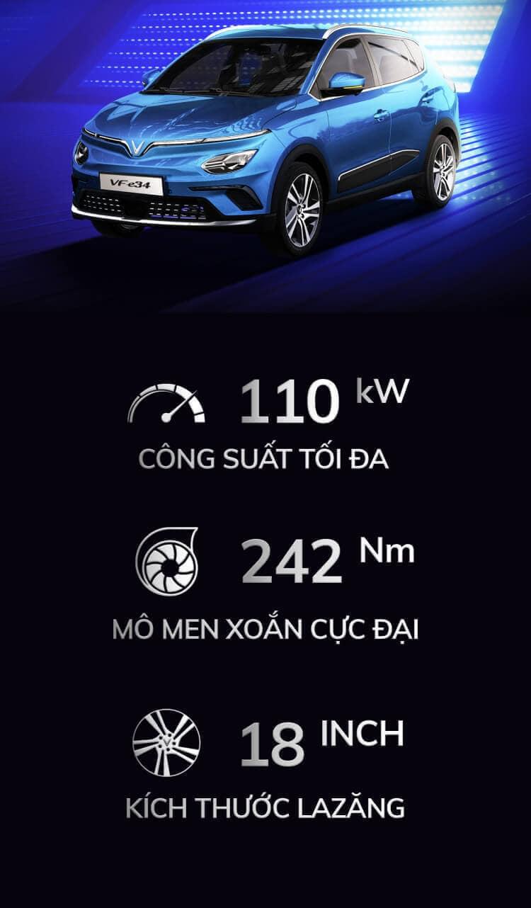 thông số công suất, mô men xoắn cực đại và kích thước la zăng xe điện vinfast vf e34