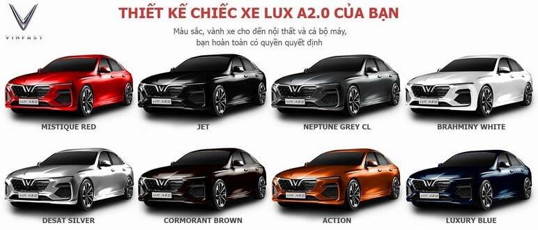 8 Mau Xe An Tuong Cua VinFast Lux A2