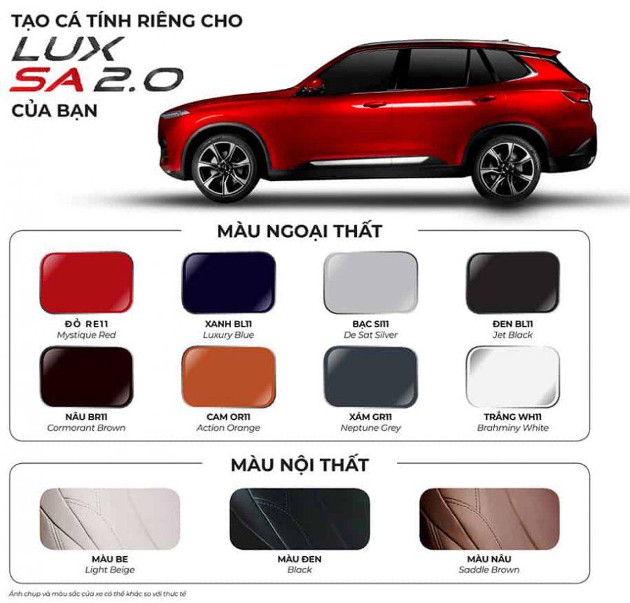 màu xe VINFAST Lux SA2.0 hợp mệnh