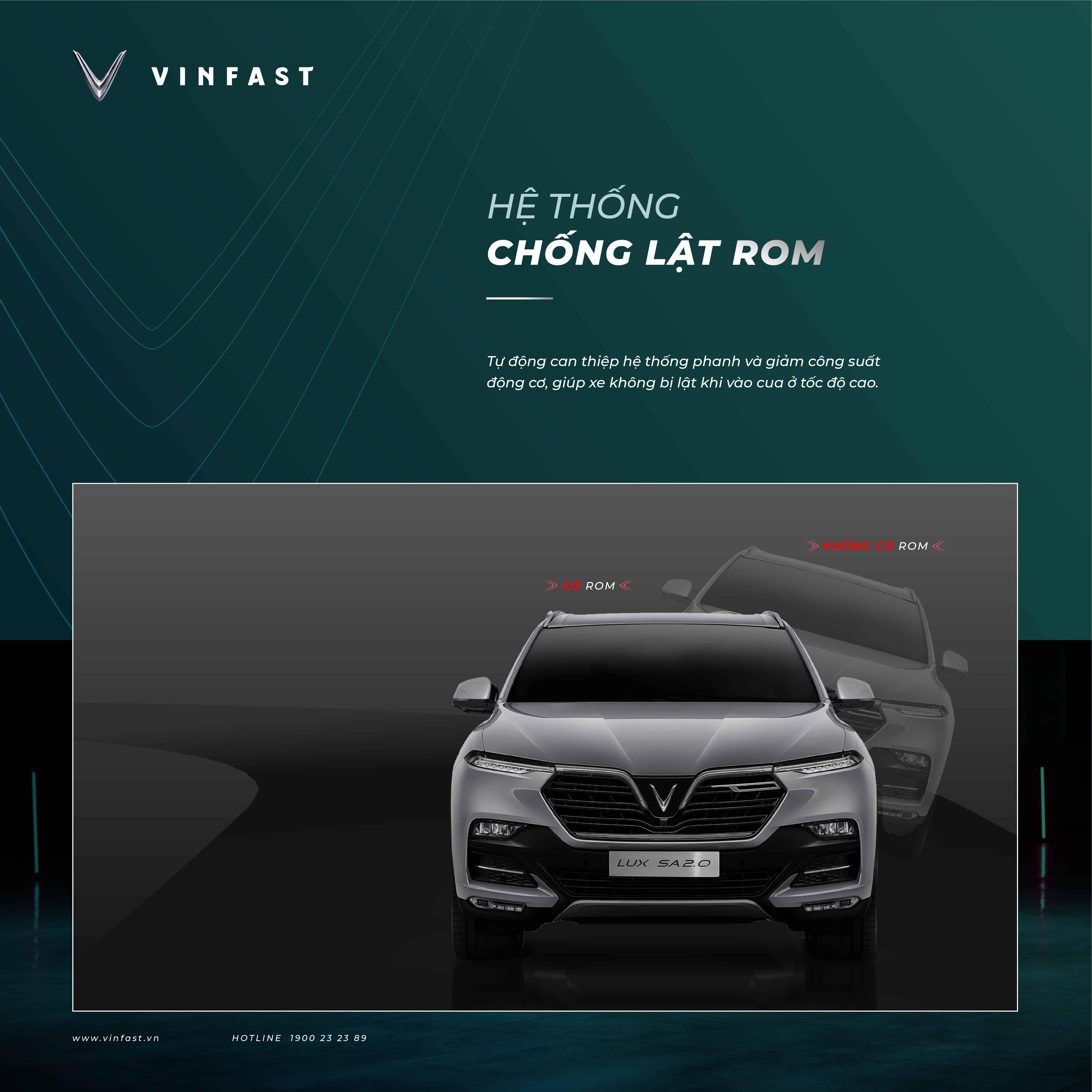 Hệ thống chống lật ROM được trang bị trên xe VinFast Lux SA2.0