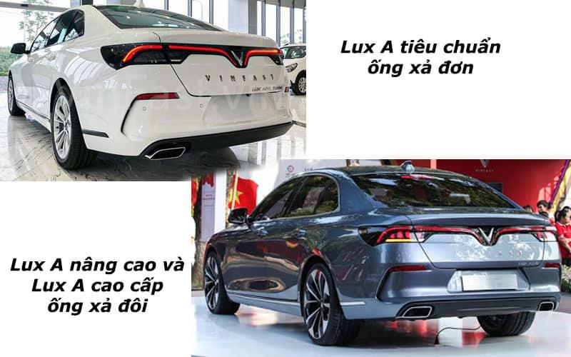 Lux A Tiêu Chuẩn ống Xả đơn, Lux A Nâng Cao Và Cao Cấp ống Xả đôi