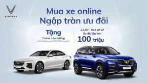 banner quảng cáo mua xe VinFast online được tặng 3 năm bảo dưỡng và ưu đãi hơn 100 triệu đồng
