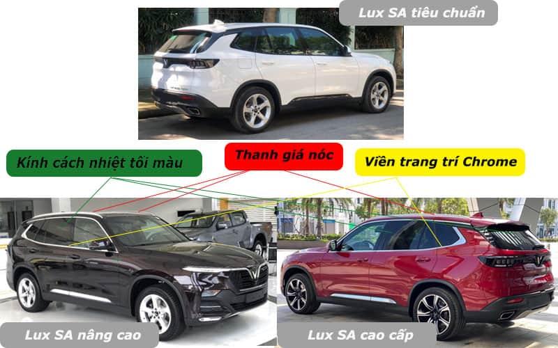 So sánh ngoại thất ba phiên bản xe VinFast Lux SA2.0
