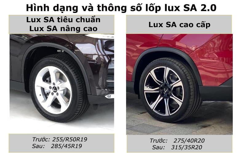 So sánh mâm xe và lốp xe 3 phiên bản VinFast Lux SA2.0