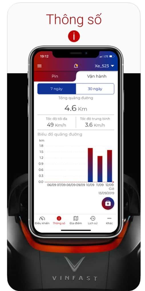 Màn hình điện thoại hiển thị thông số pin và vận hành của xe điện vinfast trên ứng dụng