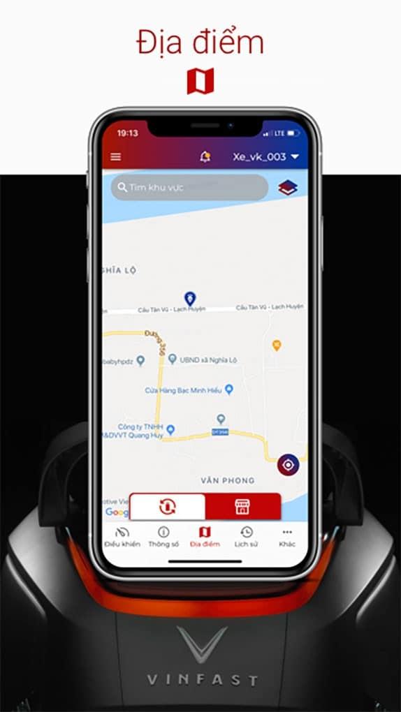 chức năng tìm kiếm trạm đổi pin gần nhất trên ứng dụng Vinfast E-Scooter