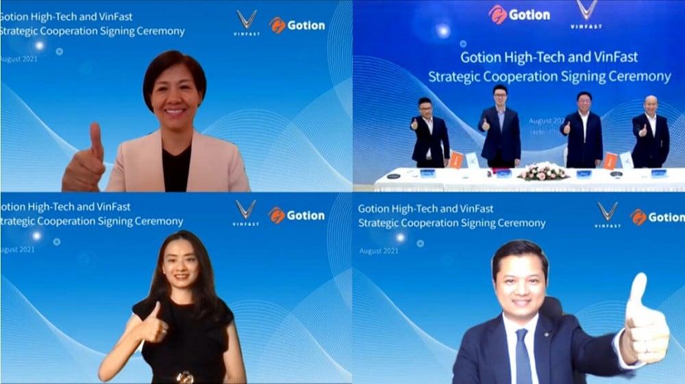 Cuộc họp online kí kết thoả thuận giữa VinFast và Gotion High-Tech
