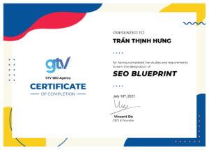Bằng chứng nhận khoá SEO blueprint từ GTVSEO cho Trần Thịnh Hưng
