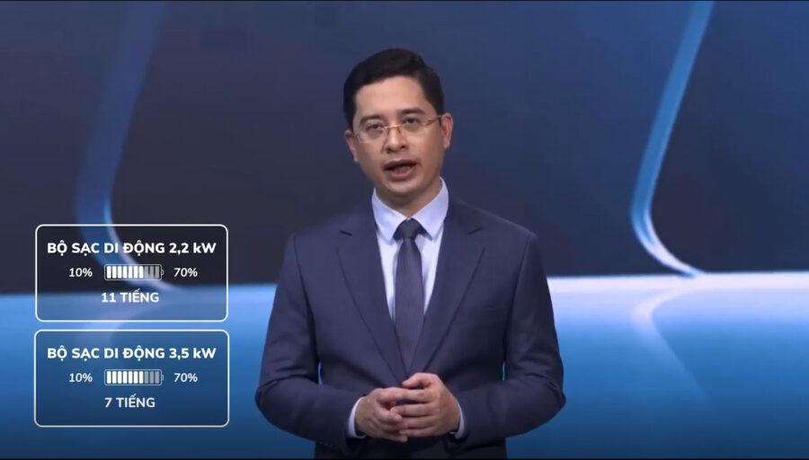 Ông Hoàng Chí Trung đang nói về bộ sạc di động xe điện vinfast